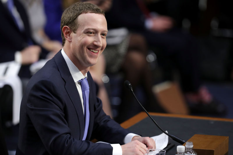 Facebook co-founder, Chairman, and CEO Mark Zuckerberg testifies before a combined Senate Judiciary and Commerce Committee hearing in the Hart Senate Office Building on Capitol Hill, April 10, 2018, in Washington, DC.