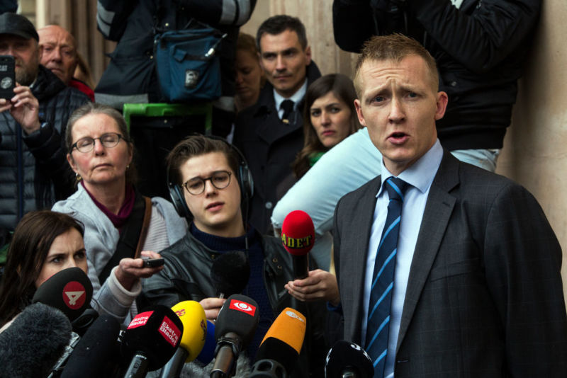 COPENHAGEN, DENMARK - APRIL 25: Special prosecutor Jakob Buch-Jepsen (R) holds a press briefing after pronouncement of sentence in the case against submarine owner Peter Madsen for the murder of Swedish journalist Kim Wall. A unanimous court reached the verdict that Peter Madsen was guilty of premeditated murder and sentenced him to life imprisonment. Madsen has lodged an appeal.