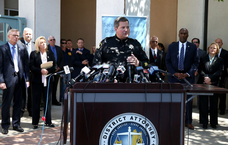 Sacramento sheriff Scott Jones speaks about the arrest of accused rapist and killer Joseph James DeAngelo during a news conference on April 25, 2018 in Sacramento, California.