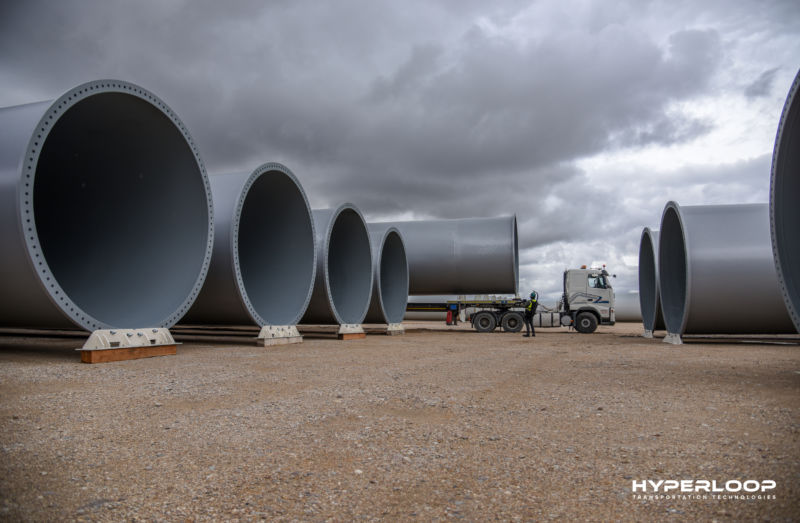 Giant tubing for Hyperloop Transportation Technologies' test track in Toulouse, France.