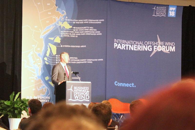 Zinke addressing the International Offshore Wind Partnering Forum in Princeton, NJ.