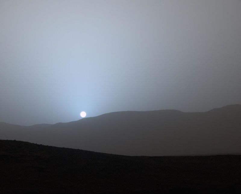 The Sun sets on Mars in 2015, as seen by NASA's Curiosity rover. When might humans see this view with their own eyes?
