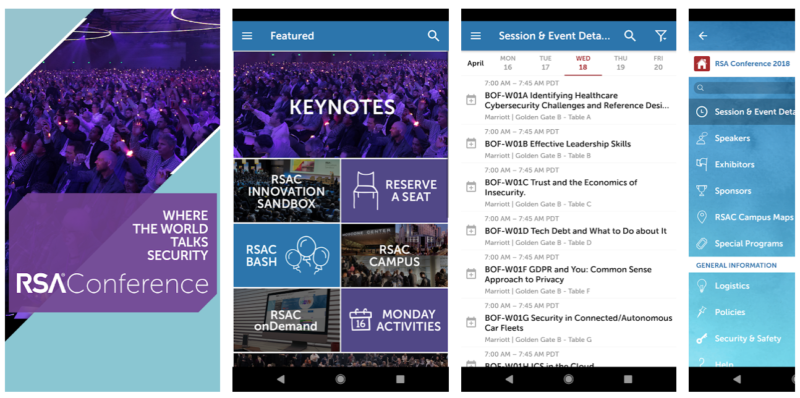 Screenshots of the RSA Conference application from the Google Play Store