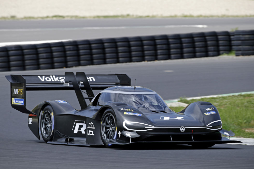 Romain Dumas driving the Volkswagen I.D. R Pikes Peak for the first time in Alès in France.