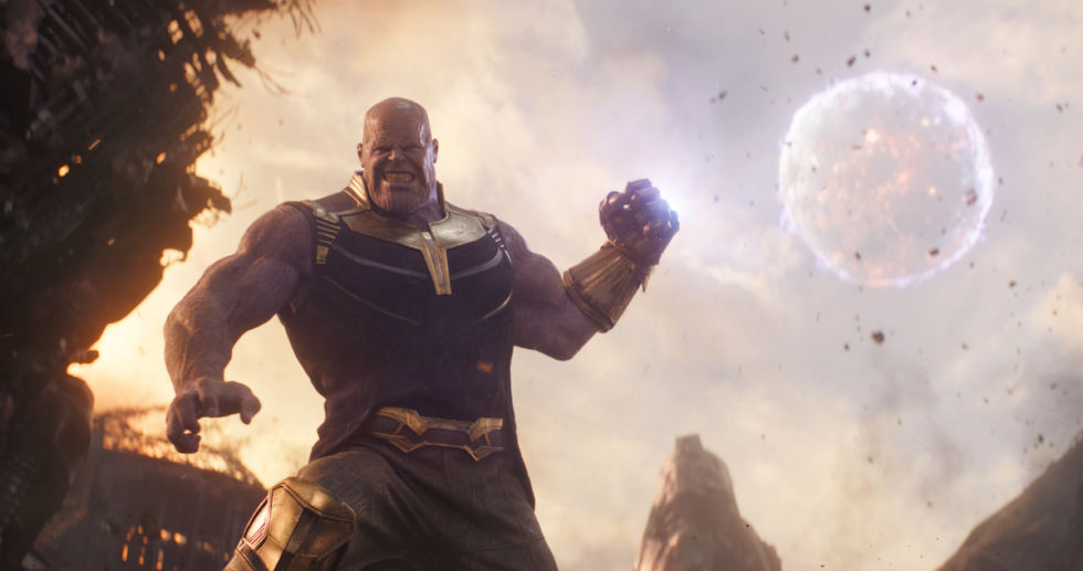 Thanos (Josh Brolin) readies a punch with his Infinity Stone-loaded gauntlet.