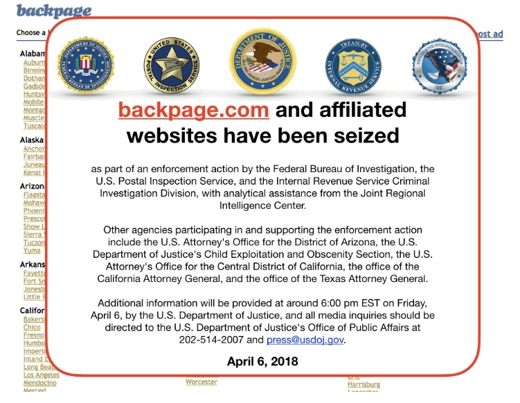 Backpage domains seized by feds, co-founder's Arizona home raided