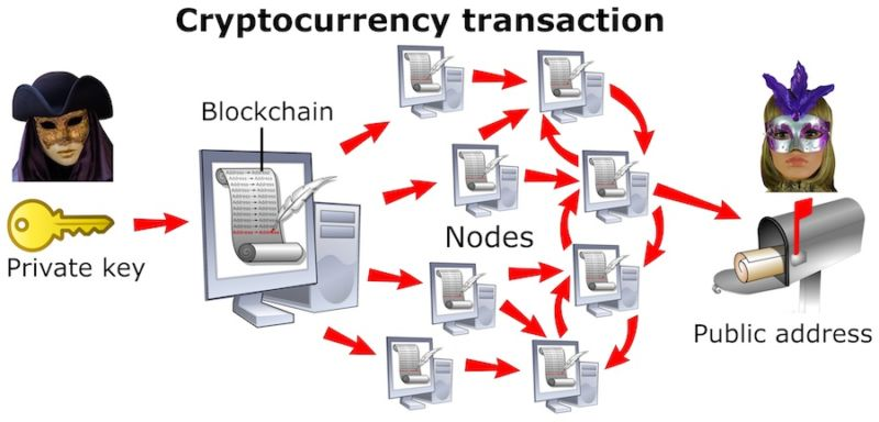 Shows relationship between the private key, blockchain, nodes, and public address.