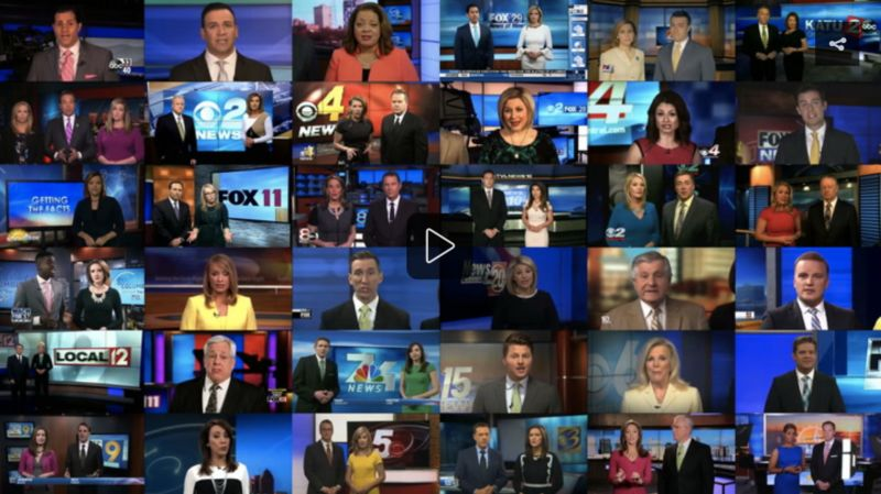 """TV news anchors reading Sinclair's script about """"fake"""" news."""