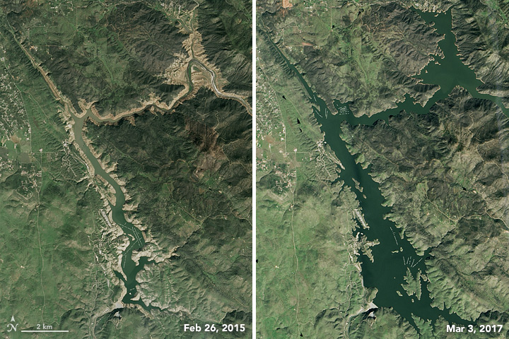 California's Lake McClure got low during drought in 2015 but swelled by early 2017 after a very wet winter.