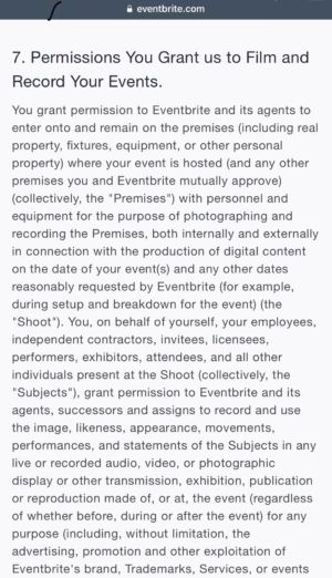 The new (and now rolled-back) Eventbrite Merchant Agreement terms, grabbed this weekend before they were rescinded.