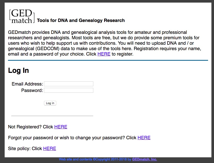 A screenshot of the GEDmatch website.