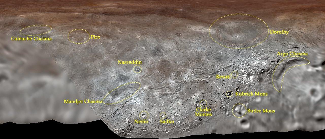 The new features highlighted on a projection of Charon's surface.
