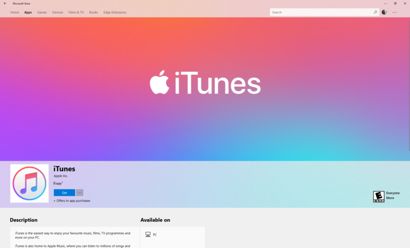 Screenshot of the Apple iTunes logo.