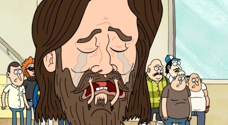Artist's conception of Mitchell reacting to the news (actually a parody of Mitchell featured in a <em>Regular Show</em> cartoon, but still...)