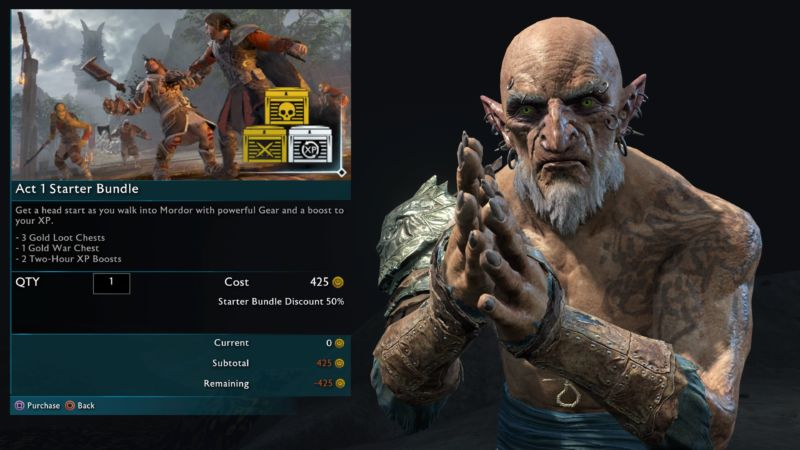 Scenes like this one of purchasing in-game orcs for real money will soon be removed from <em>Shadow of War</em>.