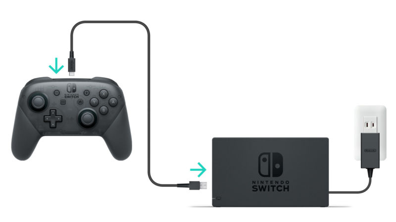 The controller charging cable shown here is one of the best ways to charge the Switch itself from a USB-A output.