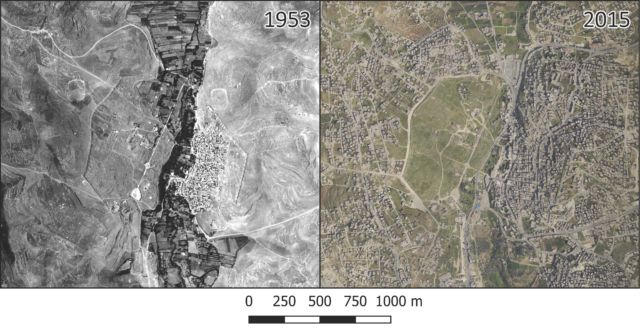 These are aerial photographs from 1953 (left) and 2015 (right) showing rapid growth in Jerash, particularly in the eastern part of the city and much of its immediate surroundings.