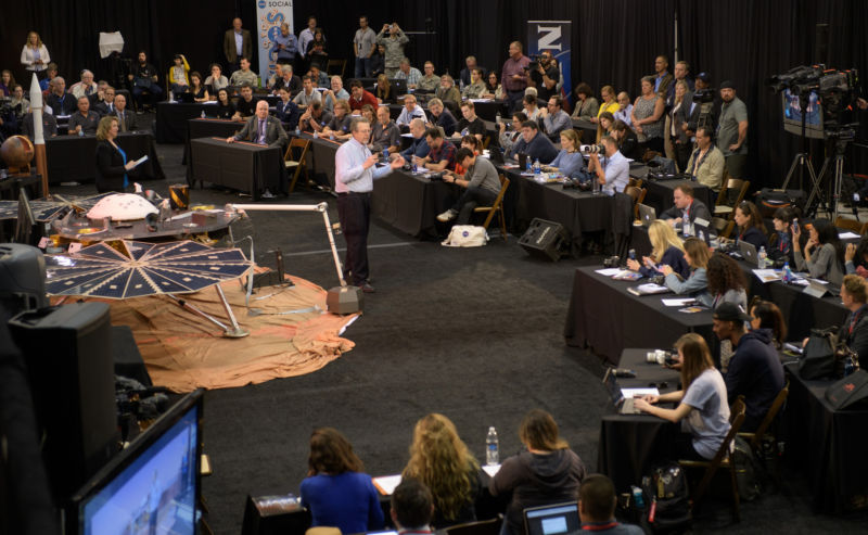 NASA Chief Scientist Jim Green discusses NASA's InSight mission during a prelaunch media briefing.