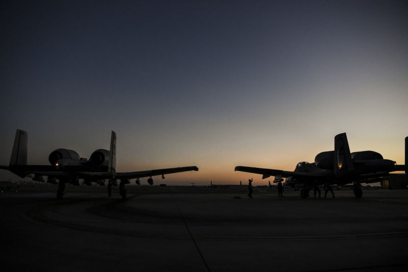 KANDAHAR, Afghanistan (May 21, 2018)—Two US Air Force A-10 Thunderbolt IIs, assigned to the 163rd Fighter Squadron, begin to taxi on the flightline at Kandahar Airfield, Afghanistan, May 21, 2018. Many A-10s are reaching the flight-hour limits of their wings; the Air Force is now launching a procurement program to buy 112 new sets. (US Air Force Photo by Staff Sgt. Corey Hook)
