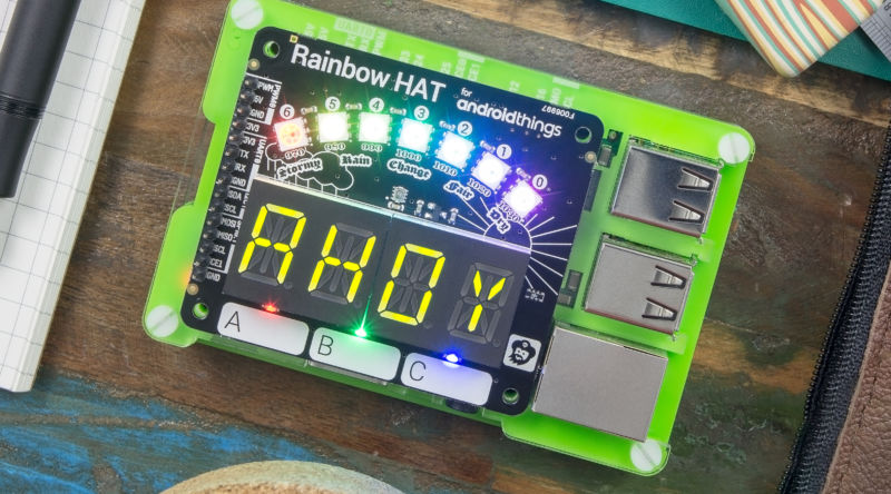 """The <a href=""""https;//shop.pimoroni.com/products/rainbow-hat-for-android-things"""">Android Things Rainbow Hat</a> from Pimoroni."""