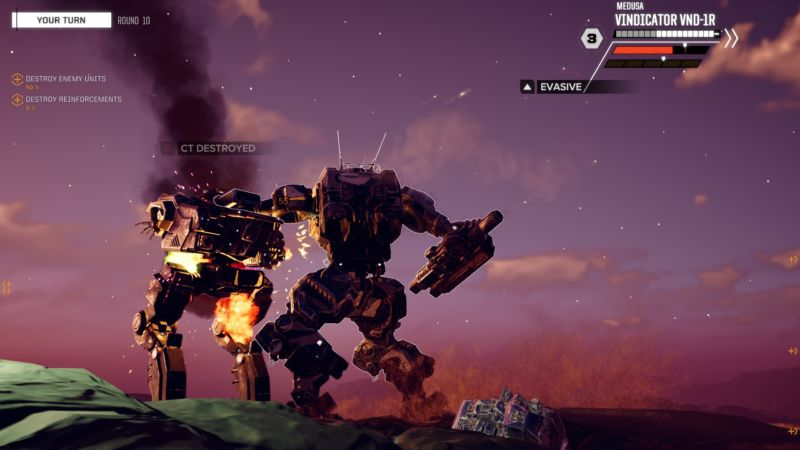 A BattleTech battle screen