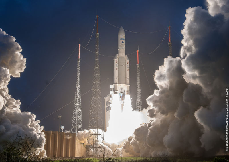 The Ariane 5 rocket launches in April, 2018.