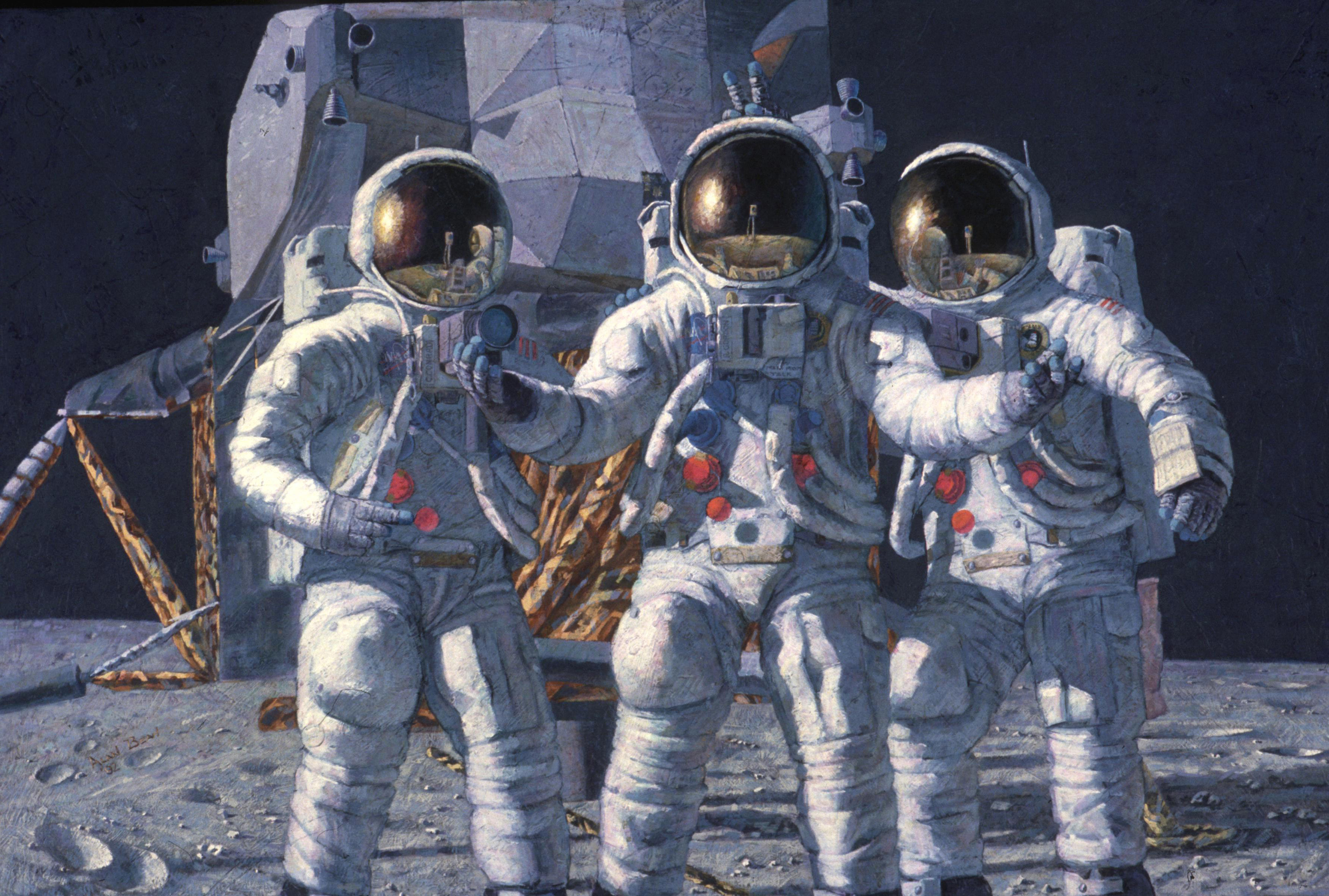 <em>The Fantasy,</em> a painting by Alan Bean, showing the entire crew of Apollo 12 on the Moon. CMP Dick Gordon, center, appears surprised to be there.
