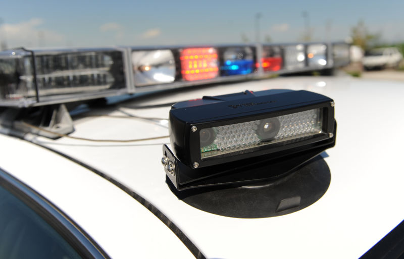 License-plate scanner mounted to the roof of a police cruiser.