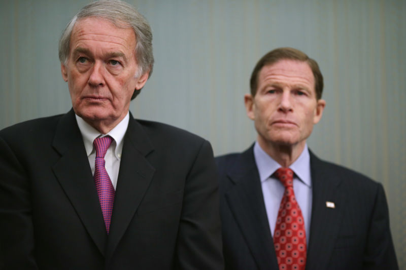 Sen. Edward Markey (D-Mass.), left, and Sen. Richard Blumenthal (D-Conn.) in 2014.