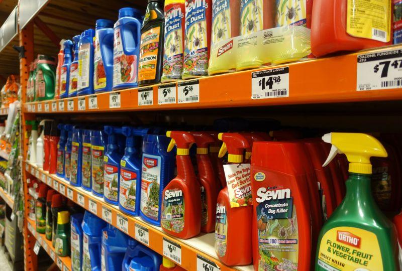 A shelf full of pesticides in a store in Miami, Florida