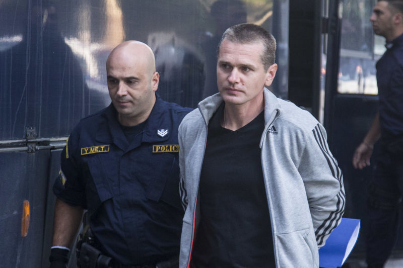 Russian bitcoin fraud suspect Alexander Vinnik is escorted to the courthouse of Thessaloniki to examine the Russian request for extradition of the accused to Russia. Thessaloniki, Greece on October 11, 2017.