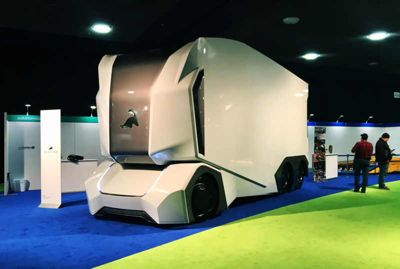 The Einride T-pod autonomous concept truck is pictured during the press preview at the 2018 North American International Auto Show (NAIAS) in Detroit, Michigan, on January 16, 2018.