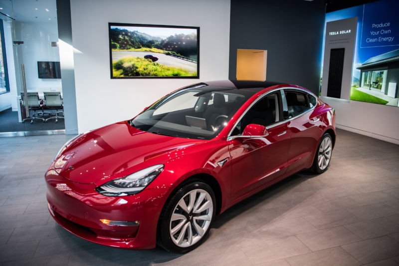 Tesla's new Model 3 car on display is seen on Friday, January 26, 2018 at the Tesla store in Washington, DC.
