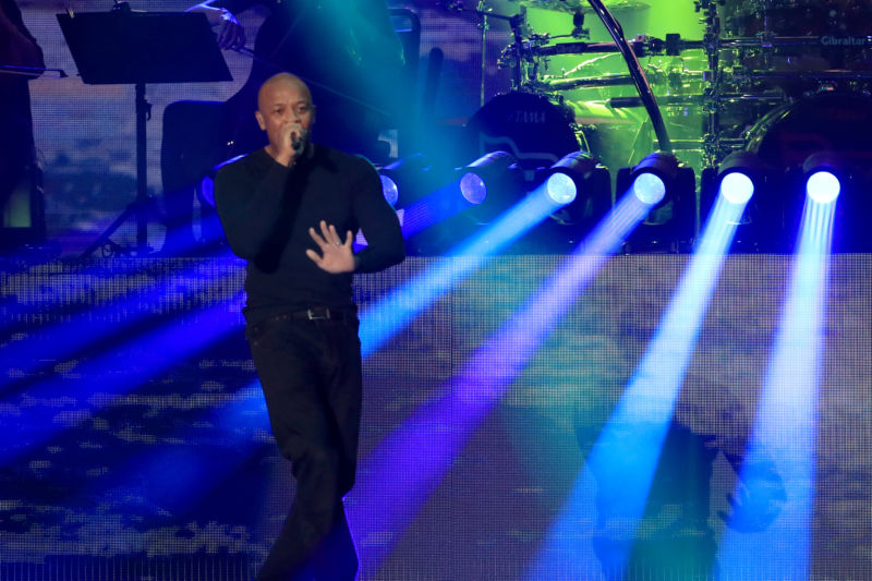 Dr. Dre performs onstage with Eminem during the 2018 Coachella Valley Music and Arts Festival Weekend 1 at the Empire Polo Field in Indio, California.