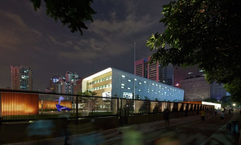 A night-time image of the US consulate building in Guangzhou, China