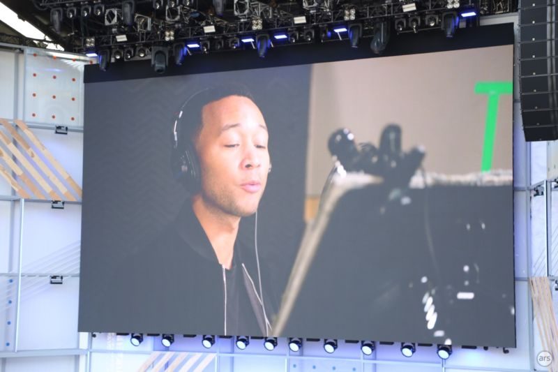 John Legend in a recording studio