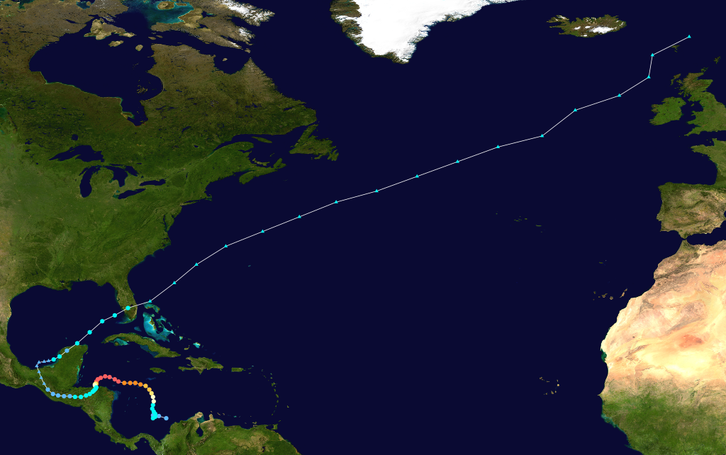 Track of Hurricane Mitch in 1998.