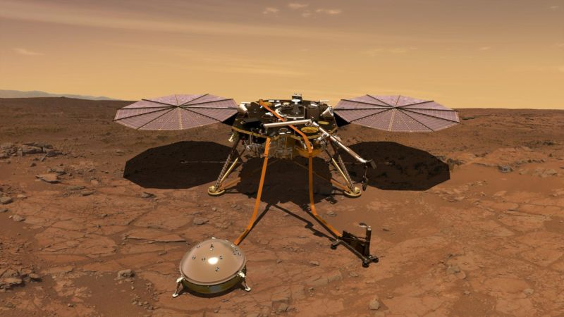 Rendering of InSight lander on Mars.