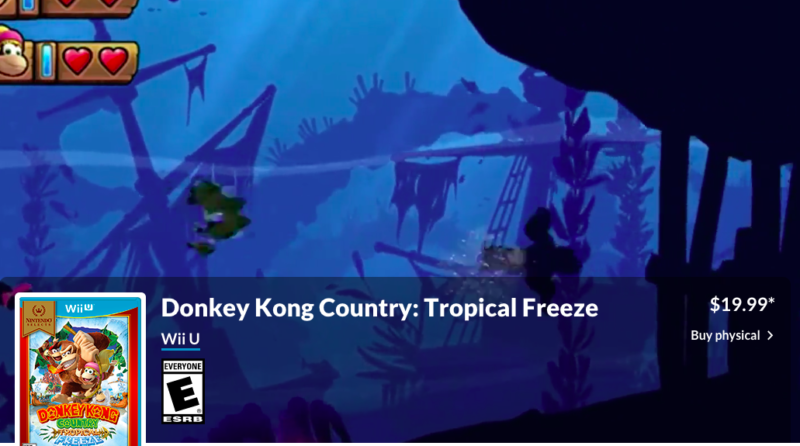 "A screen capture from Nintendo.com shows no ""Buy Digital"" option for <em>Donkey Kong Tropical Freeze</em> on the Wii U."