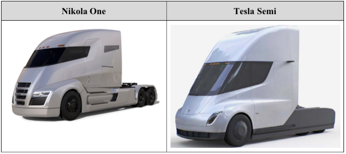 Nikola's complaint says these two truck cabins look too much alike.