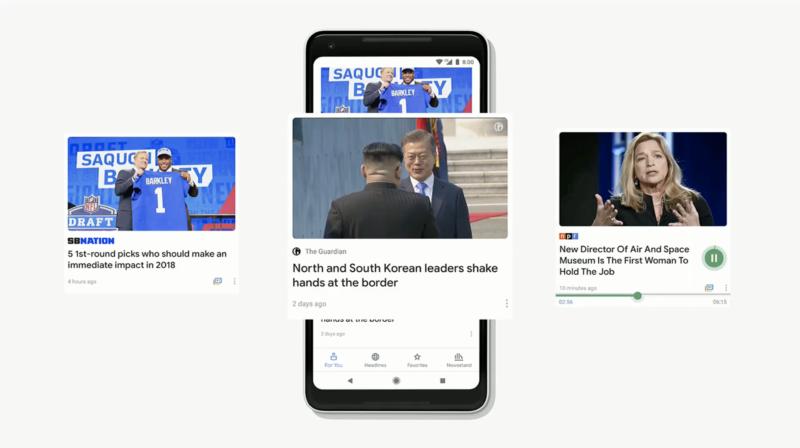 Image of smartphone using Google Newscast.