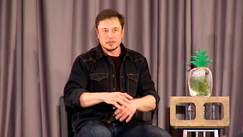 Enlarge  Elon Musk speaking to a crowd in Los Angeles