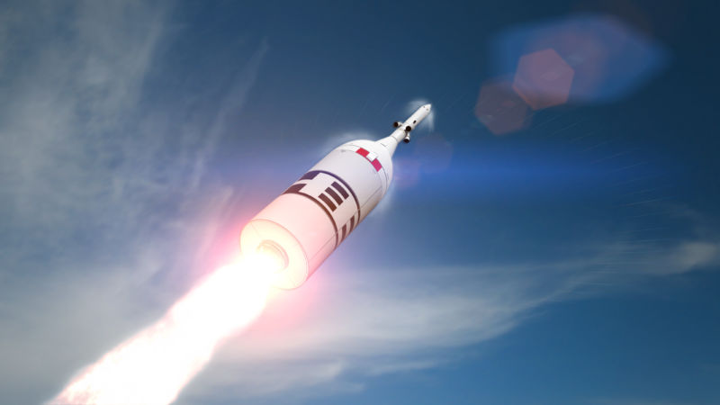 NASA's Orion spacecraft and its launch abort system shown in this rendering of the Ascent Abort-2 test flight.