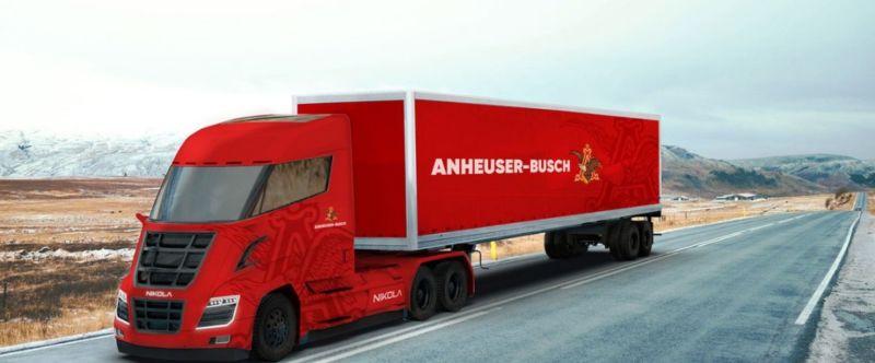 A Nikola Truck with Anheuser Busch logo