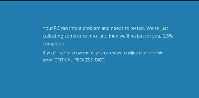 The blue screen of death.