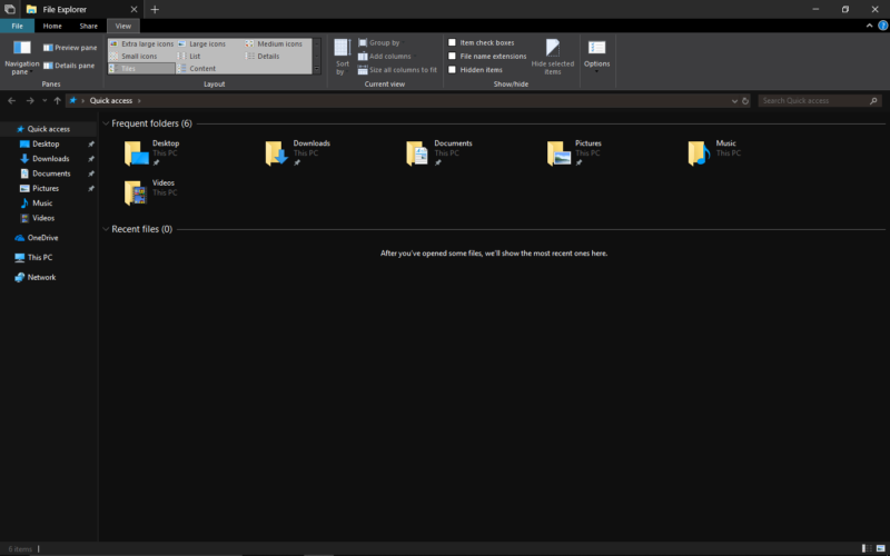 Screenshot of Windows using dark theme.