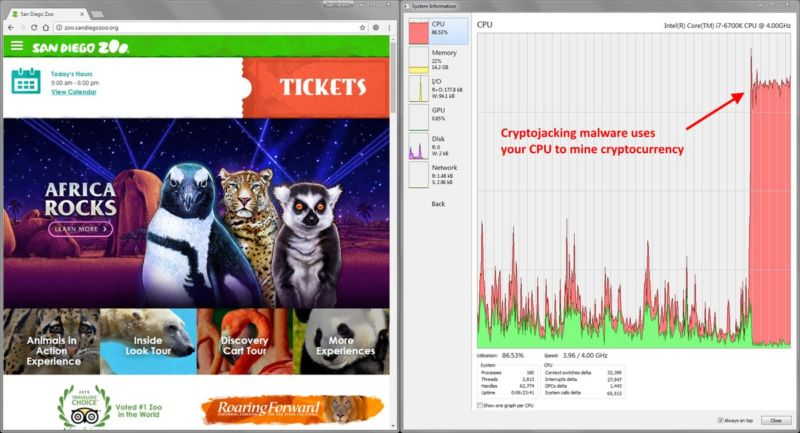 Front page of San Diego Zoo website on the left, effects on visitors' CPU on the right.
