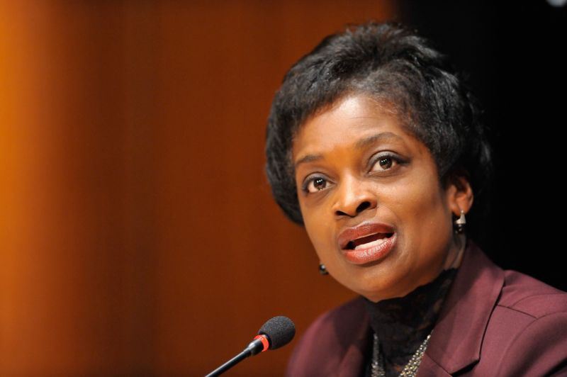 FCC Commissioner Mignon Clyburn speaking into a microphone.