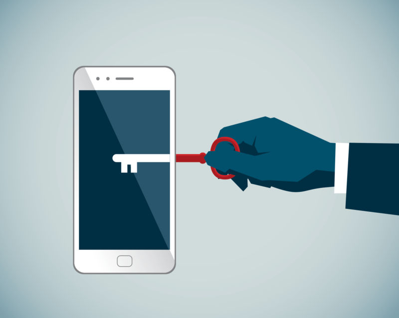 Illustration of a person's hand inserting a key into a smartphone.