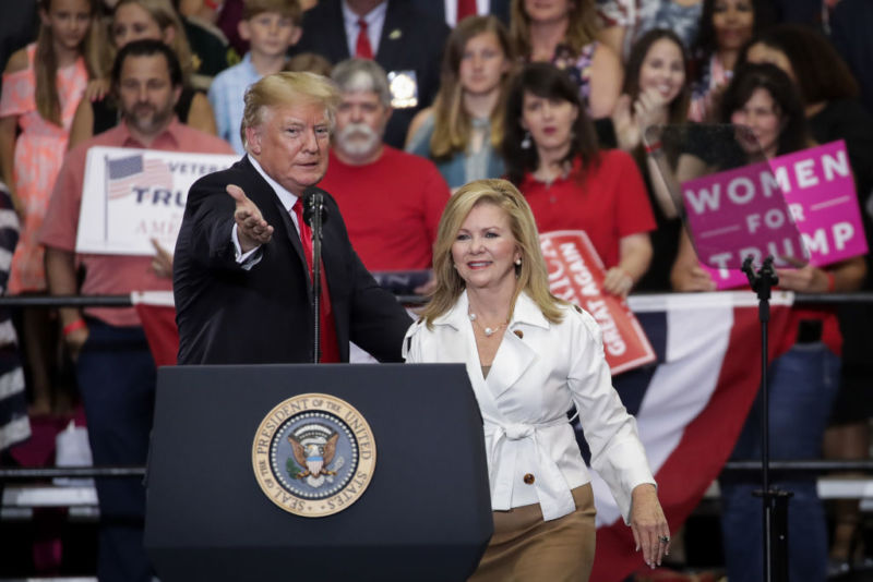 President Donald Trump introducing Rep. Marsha Blackburn (R-Tenn.) at a campaign rally.
